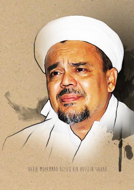 Sketch Painting Habib Muhammad Rizieq Bin Husein Shihab