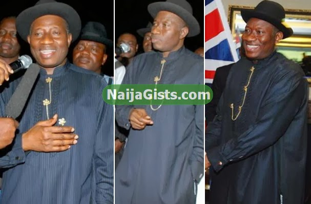 president jonathan dressed in black