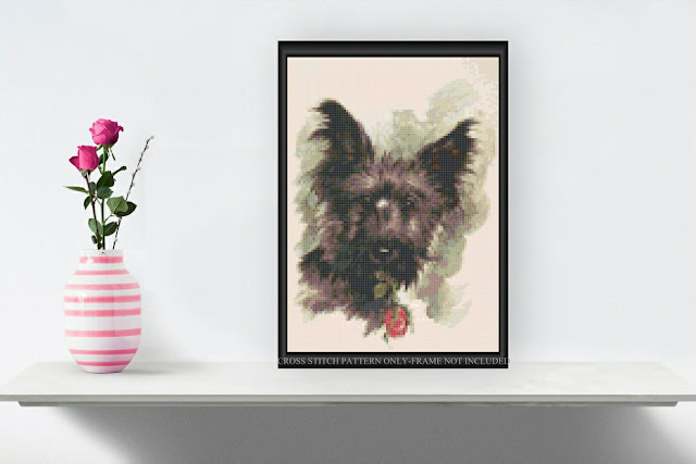 Scotty Dog with Rose Printable Cross Stitch Pattern