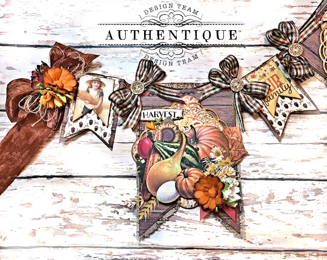 Authentique Pleasant Thanksgiving Banner Tutorial by Kathy Clement Photo 09