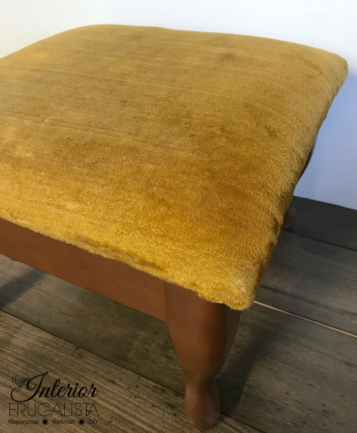 Embossed Leather Footstool Fabric Before