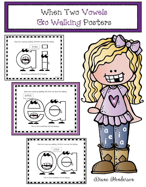 Classroom Freebies: When 2 Vowels Go Walking Posters
