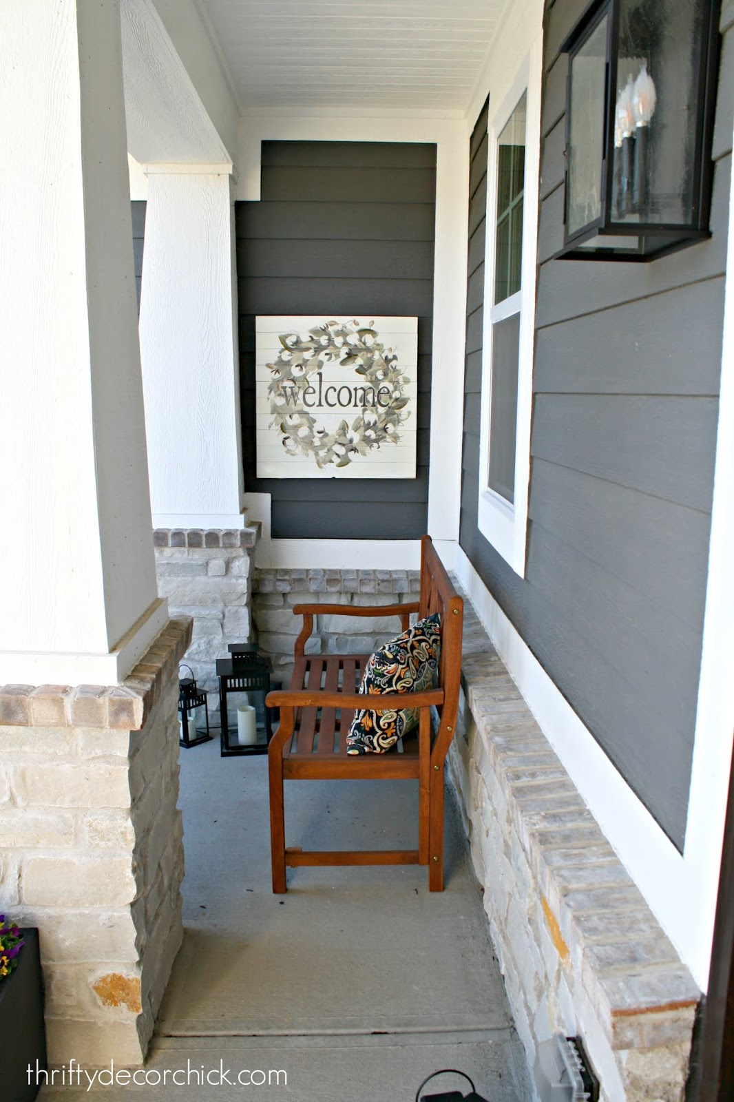 Wood bench on porch