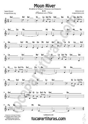 5 Moon River Partitura Fácil con Notas de Desayuno con Diamantes de James Horner. Me gusta tanto la versión instrumental como la cantada por Audrey Hepburn