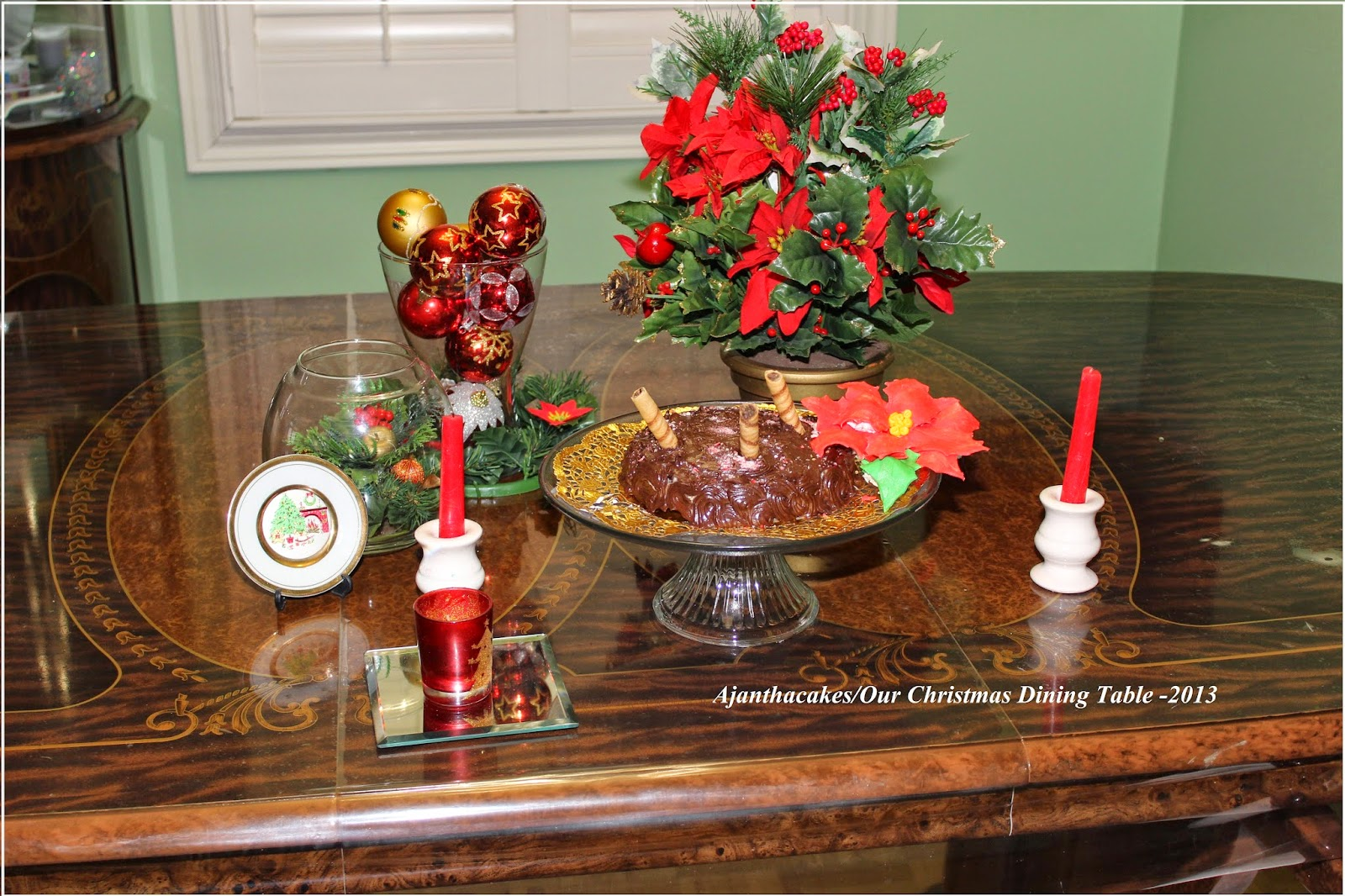 AjanthaCakes/Christmas Cake/Chocolate Cake &  & Poinsettia Sugar flower