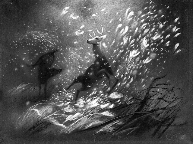 Tyrus Wong sketch for Bambi fire scene