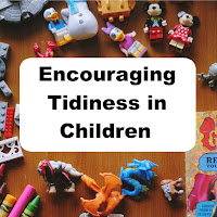 Encouraging Tidiness in Children, toys scattered on a table top.