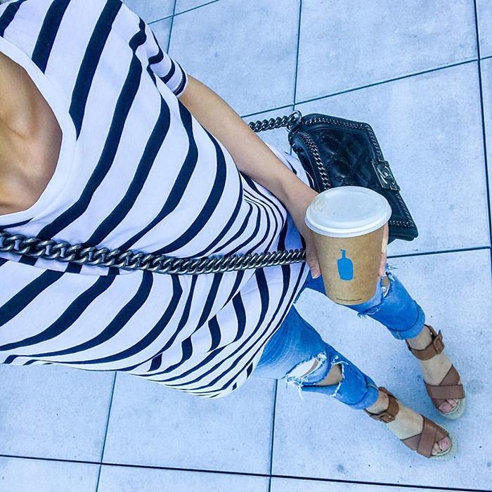 banana republic stripe tee, basics, blank nyc jeans, chanel boy bag, sole society sandals, blue bottle coffee, san francisco fashion blog, san francisco street style