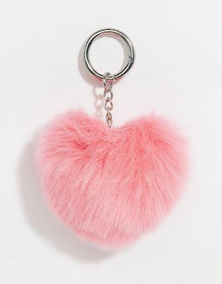 Porte clés coeur fourrure