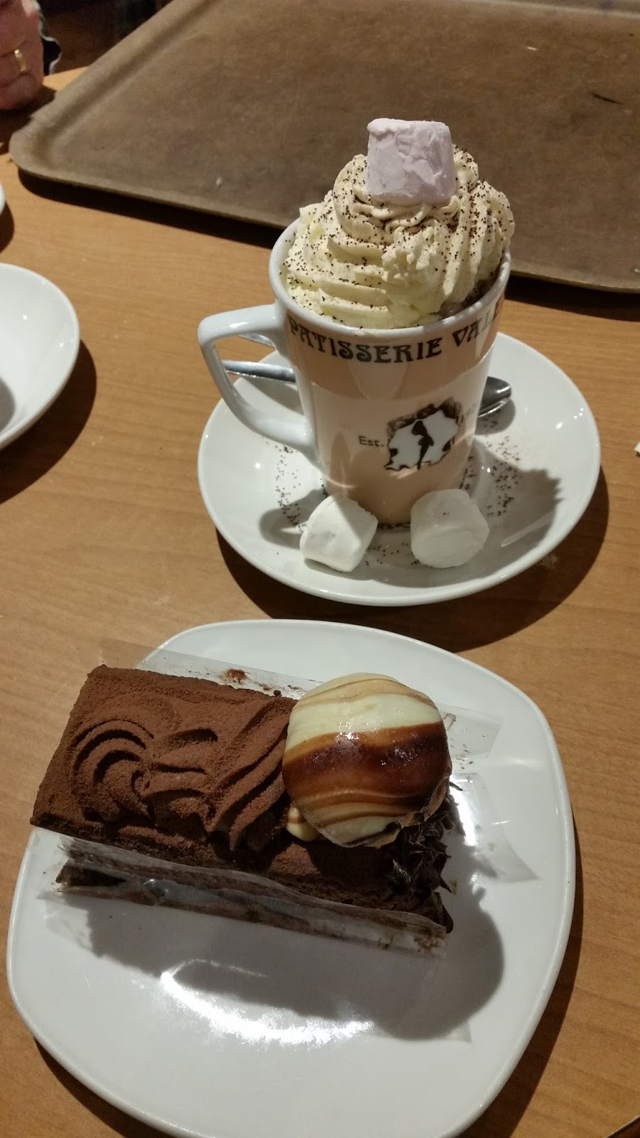 Patisserie Valerie, hot chocolate, marshmallows, chocolate cake, profiterole
