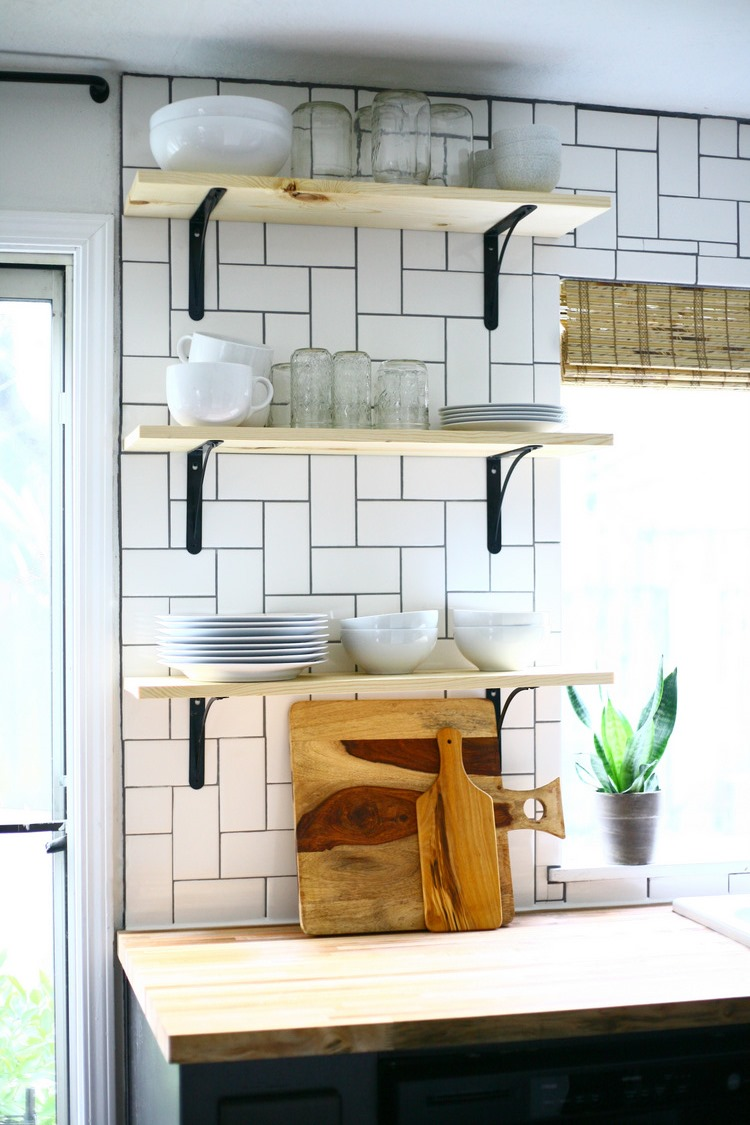 How to install basic open kitchen shelves (over tile a tile ...