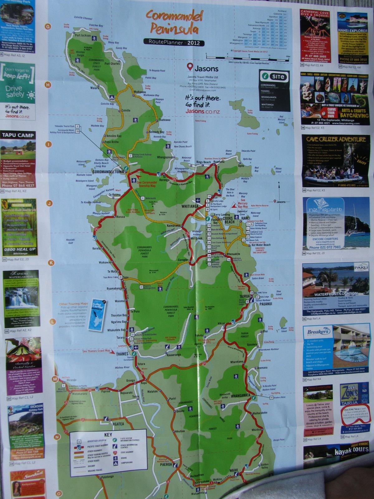 Magi and Sam: Map of Coromandel Peninsula. We sta a week ... Magi Map on robbers map, maginot line map, princess map, adventure map, google map, disney's map, mtg map, mavs map, mischief map,