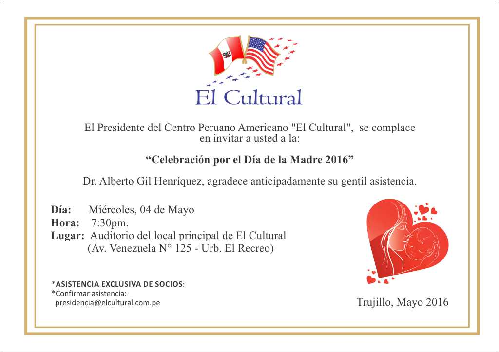Invitación A Celebración Día De La Madre: Socios El Cultural: Invitación Celebración Día De La Madre