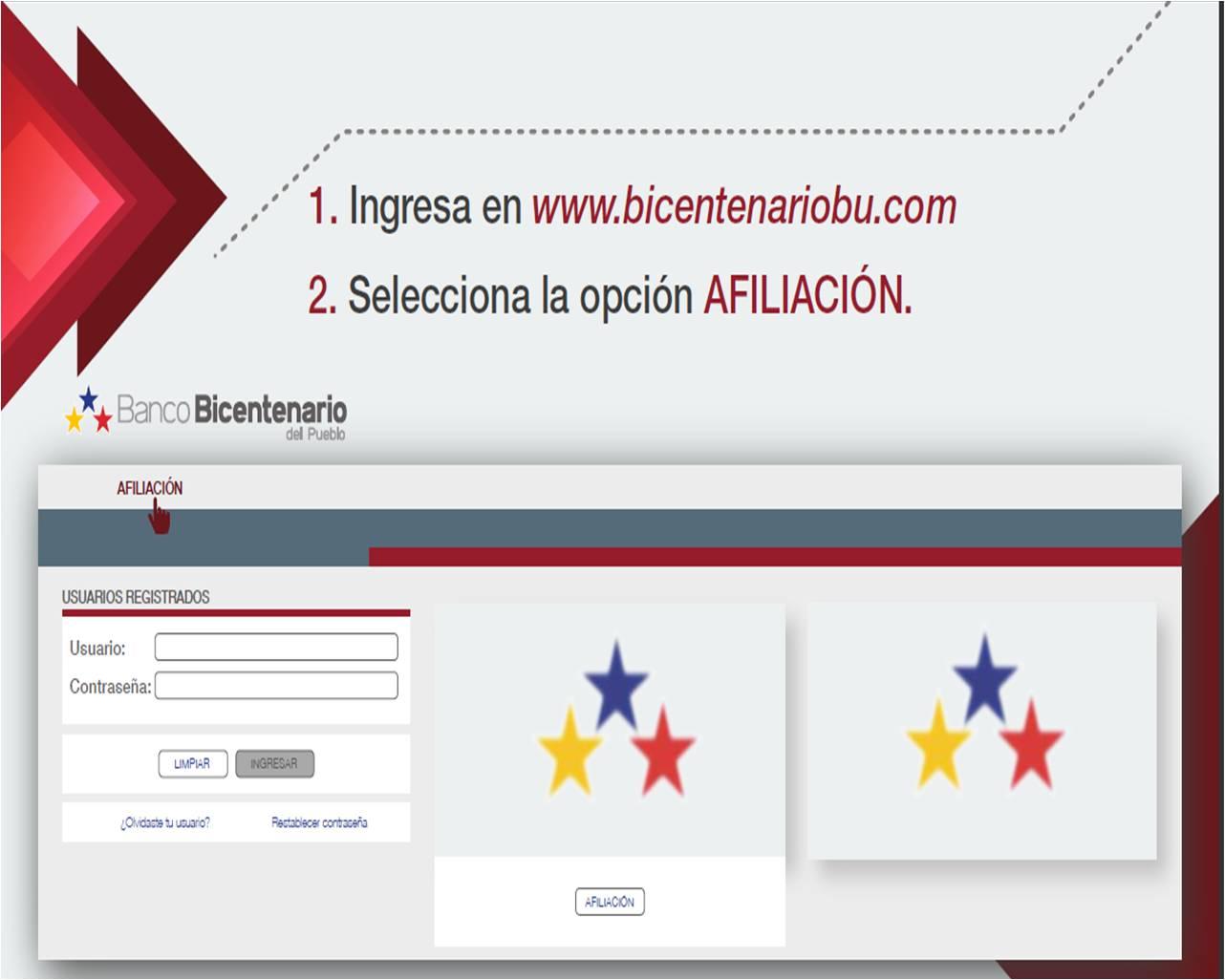 Pasos Afiliación a Banco Bicentenario en Línea