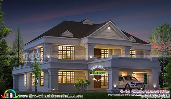 Night view of 4 bedroom Colonial home