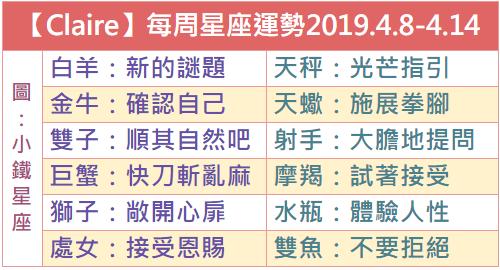 【Claire克萊爾】每周星座運勢2019.4.8-4.14