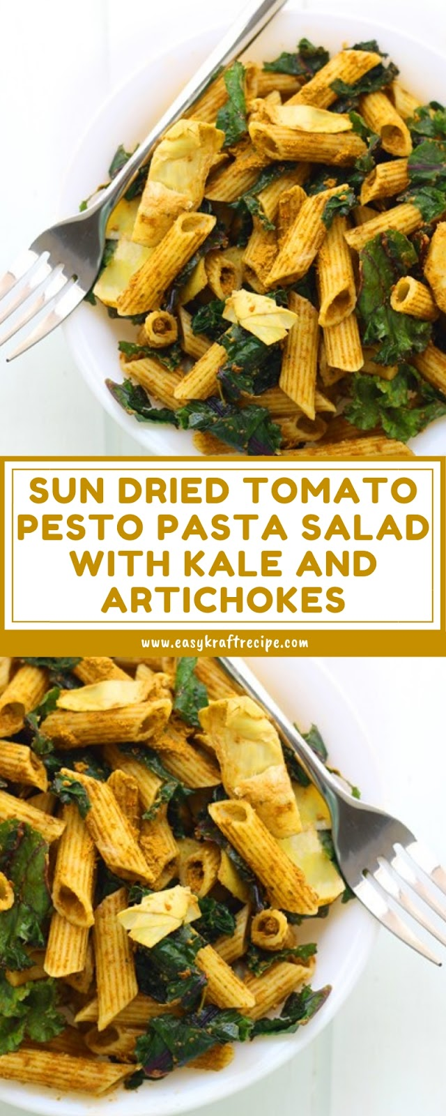 SUN DRIED TOMATO PESTO PASTA SALAD WITH KALE AND ARTICHOKES