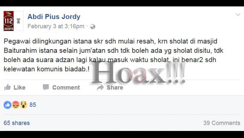 Status hoax akun Facebook Abdi Pius Jordy