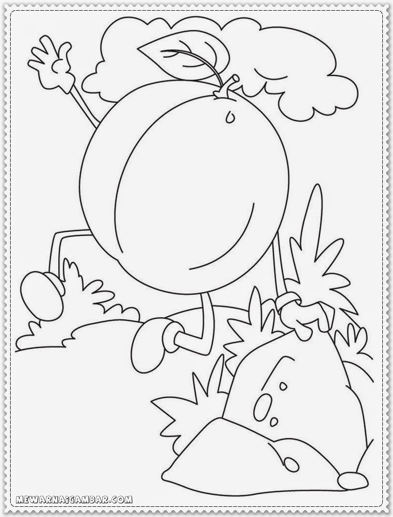 Cartoon Apricot Coloring Pages
