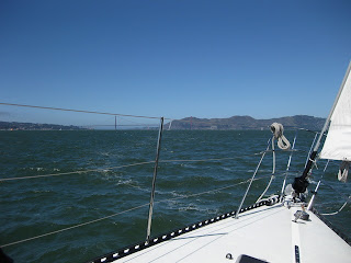Sailing toward the Marin Headlands