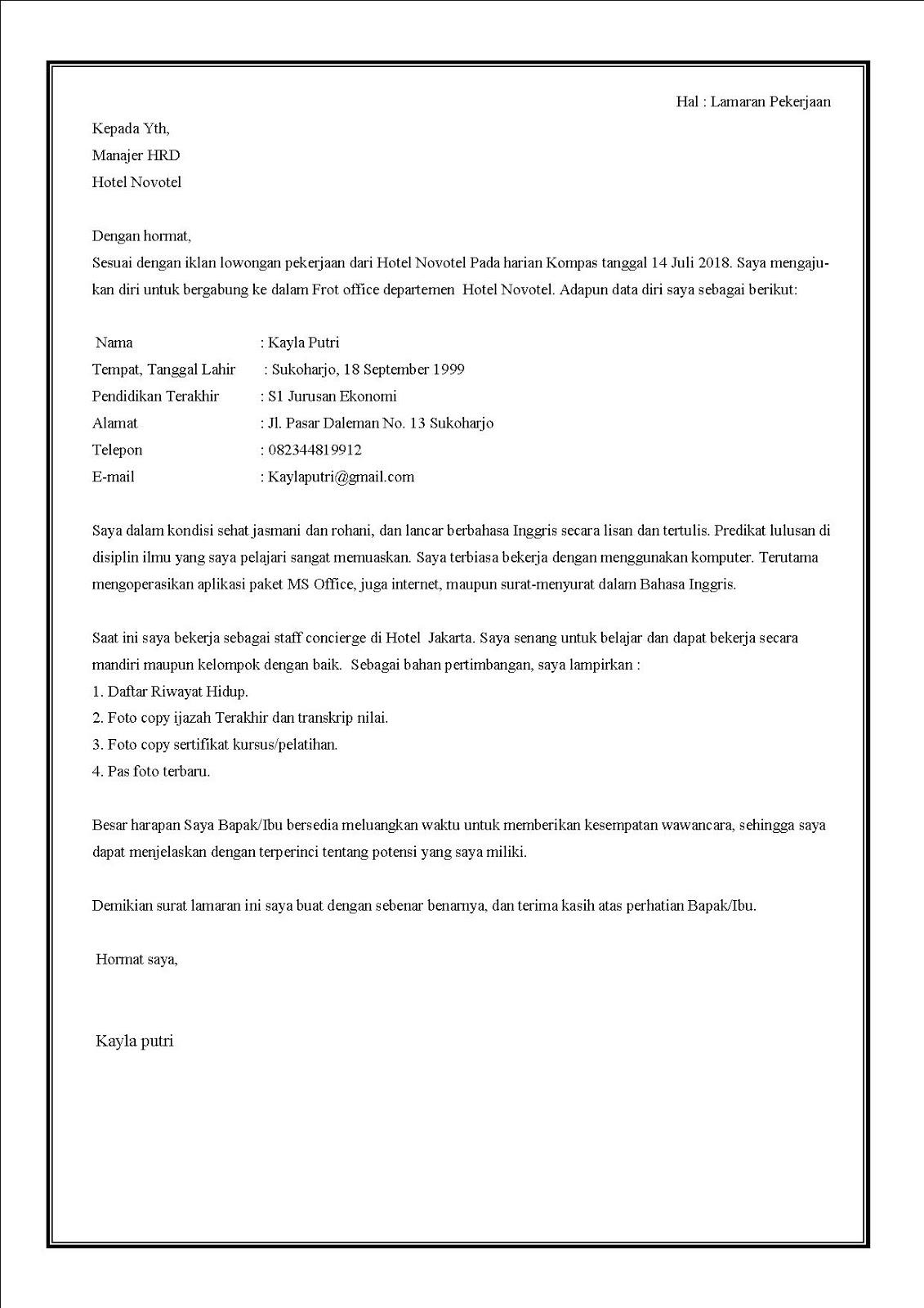 Contoh surat lamaran kerja di hotel untuk bagian concierge dalam bahasa indonesia