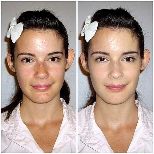 Buena base de maquillaje antes y despues
