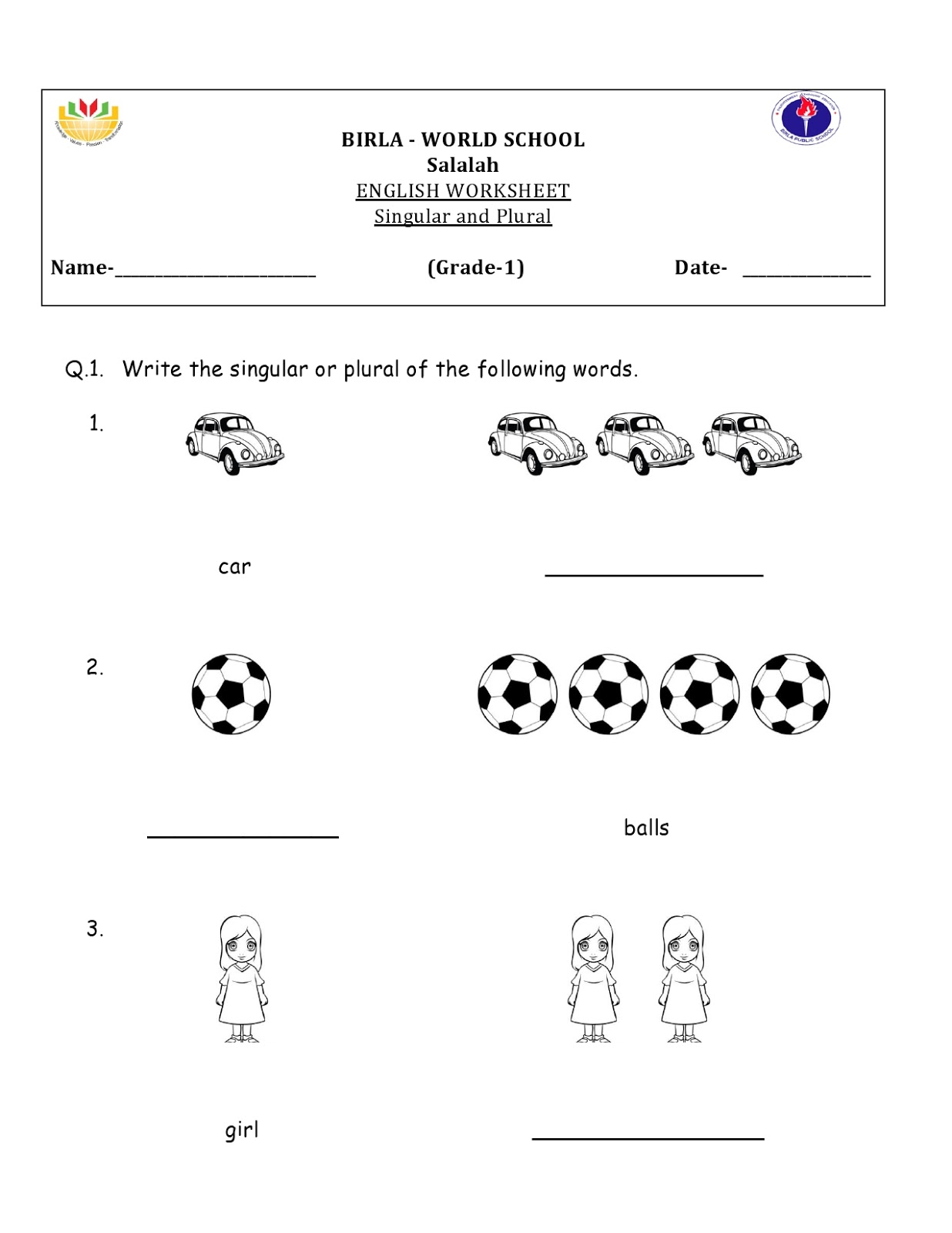 Birla World School Oman Homework For Grade 1 B And D On