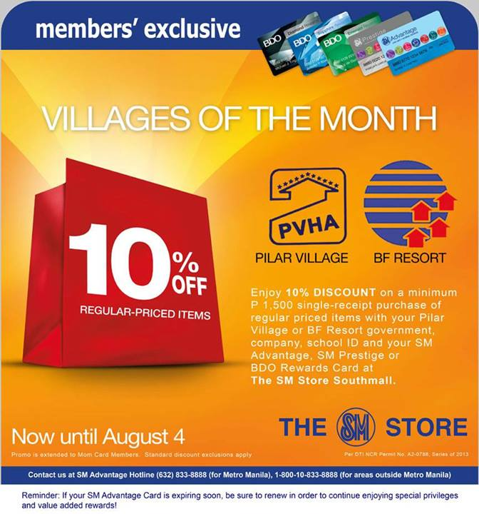 93e38ce8a70c9b EXPIRED  10% Off SM Members Exclusive for Pilar Village and BF Resort  Resident until August 4