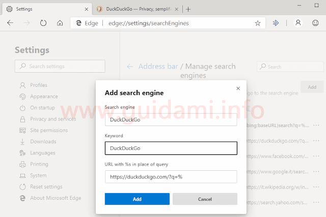 Microsoft Edge Chromium impostazioni aggiungere motore ricerca