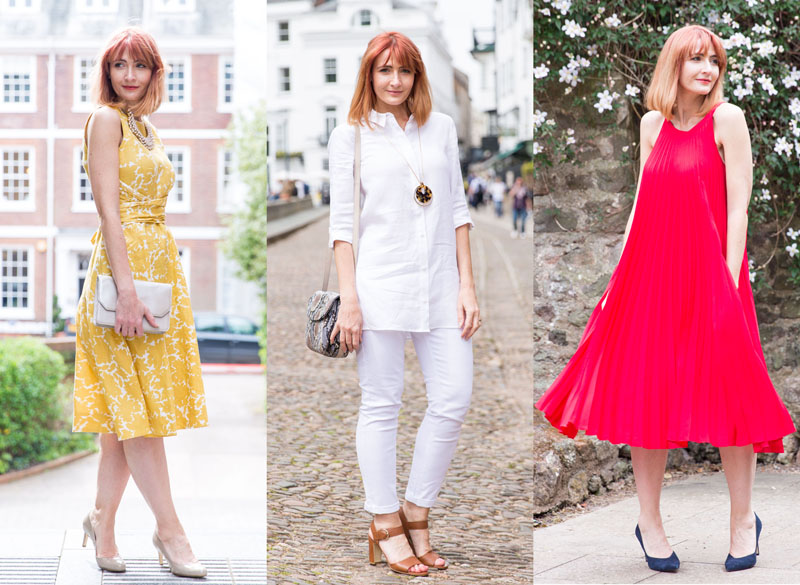 Hobbs SS16 style: Yellow fit n flare dress, Head to toe white, Red pleated swing dress, White trench with patterned trousers | Not Dressed As Lamb