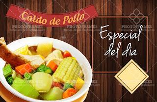 plantilla banner menu comida restaurante sopa de pollo social media