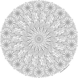 Flower mandala to print and color- available in jpg and transparent png formats #coloringpages #mandalas