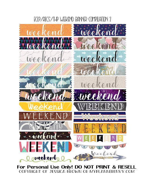 Free Printable Weekend Banner Compilation 2 for the Vertical Erin Condren, Recollections Creative Year, and Classic Happy Planner from myplannerenvy.com
