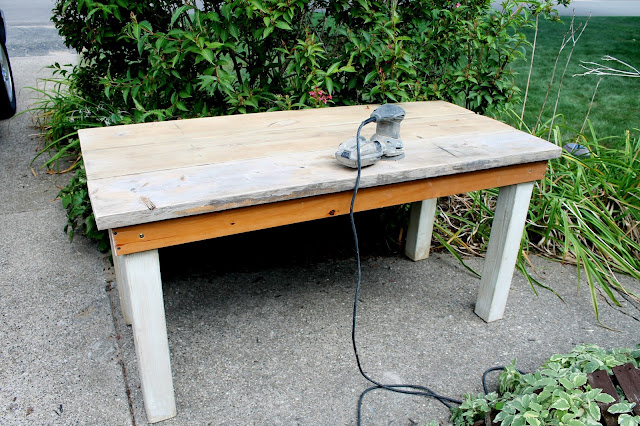 rockwell random orbital sander diy build it yourself farmhouse kitchen table from upcycled recycled lumber and old bed