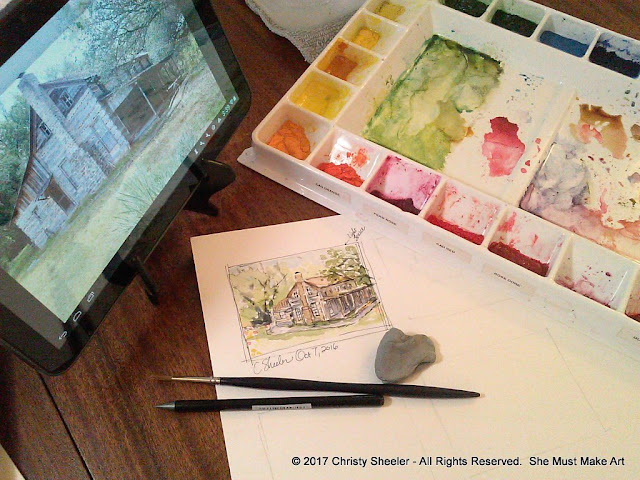 Creating the first watercolor thumbnail sketch for this project with pen and watercolor.