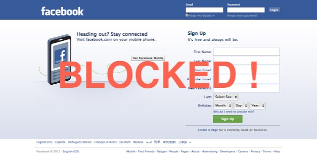 Being blocked on facebook