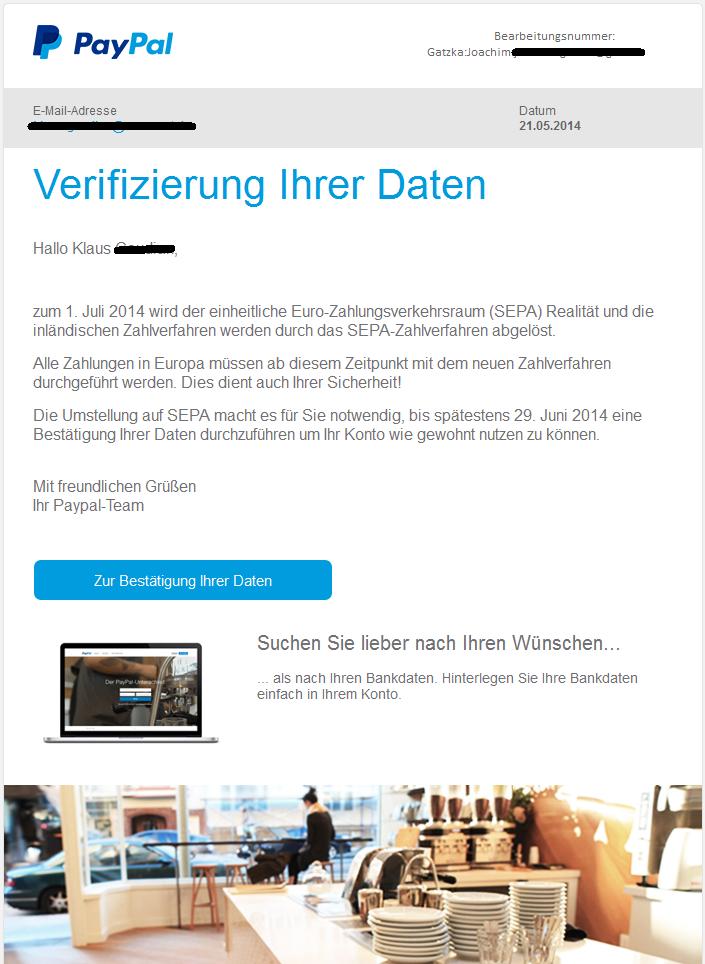 Paypal Mail Verifizierung