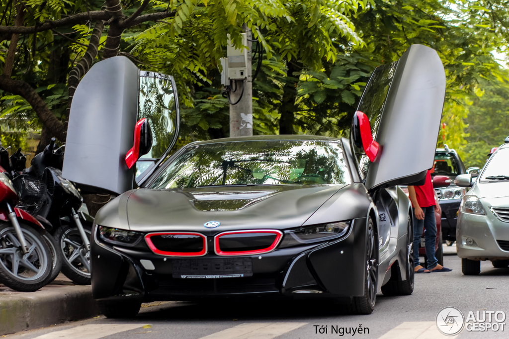 Matte Black Bmw I8 Spotted In Vietnam With Demonic Red Accents