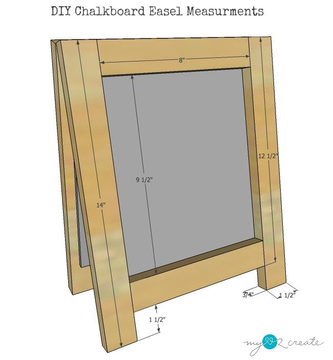 measurements for DIY Chalkboard Easel