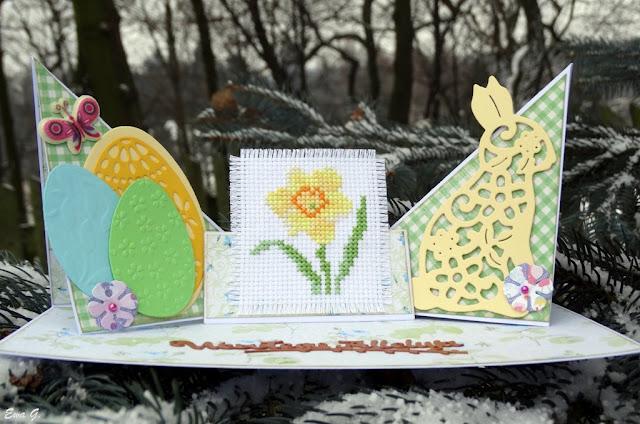 Wielkanocne kartkowanie - kartka z kwiatami