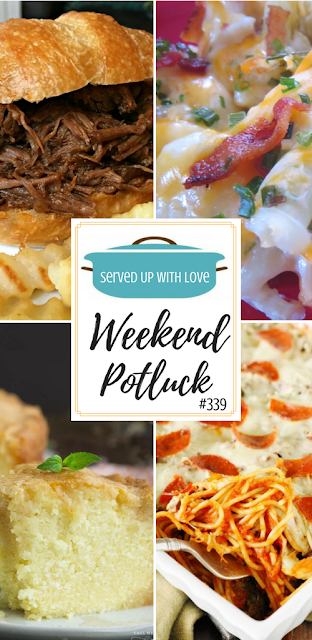Rum Pound Cake with Rum Glaze, Loaded Cauliflower Casserole, Pizza Spaghetti Bake, Slow Cooker BBQ Beef Sandwiches are all featured recipes at Weekend Potluck over at Served Up With Love.