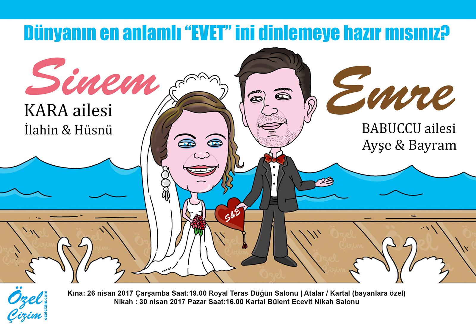 davetiyemde biz olalım, düğün davetiyeleri, düğün davetiyesi, eğlenceli davetiye, karikatürlü davetiye, kişiye özel düğün davetiyesi, komik düğün davetiyesi, Özel Çizim, özel davetiye,