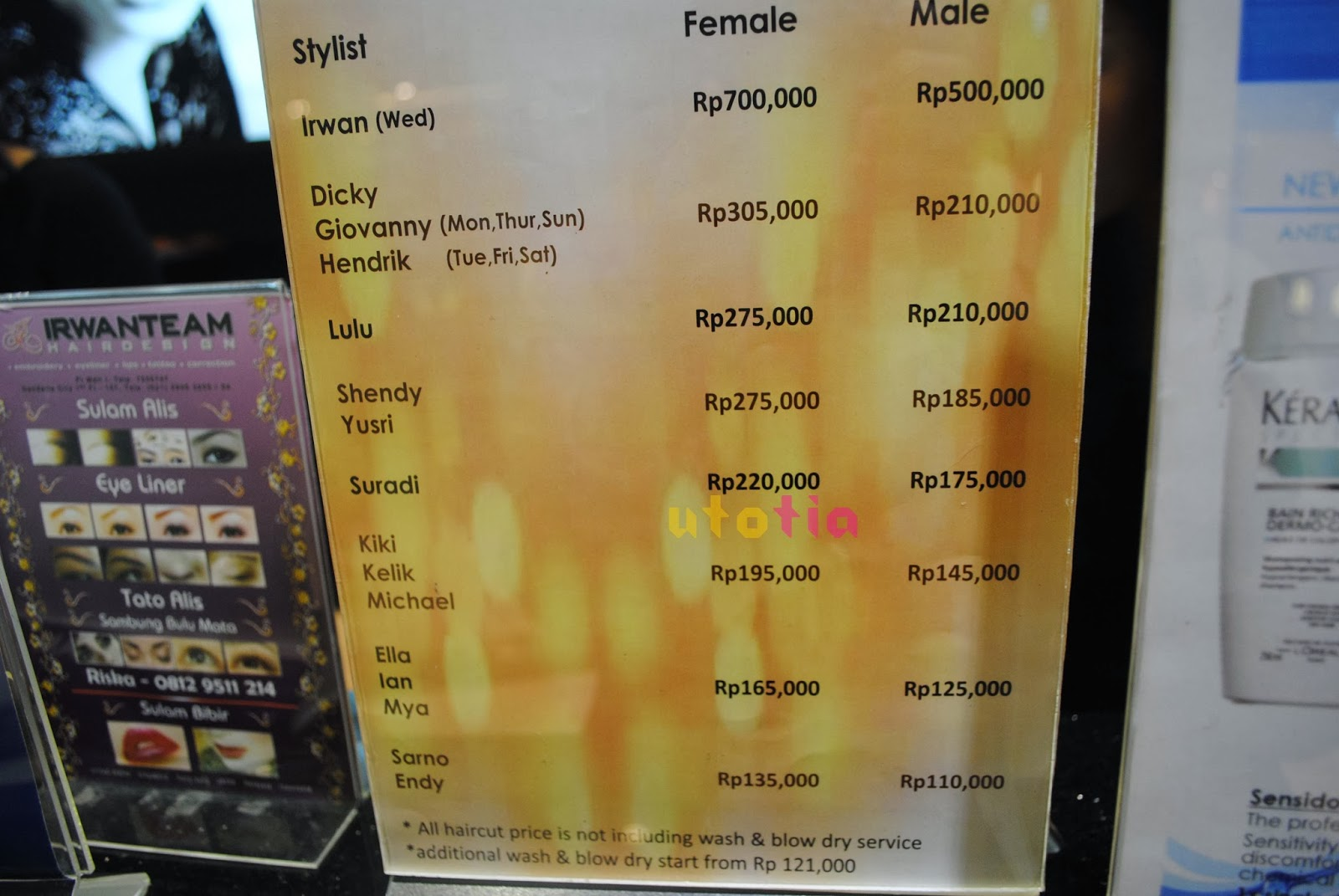 Hair Style Prices: IRWAN TEAM HAIR DESIGN Coloring Service