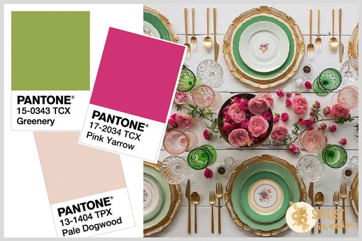 Mesa en tonos de verdes y tonos de rosa para un almuerzo fresco bien primaveral