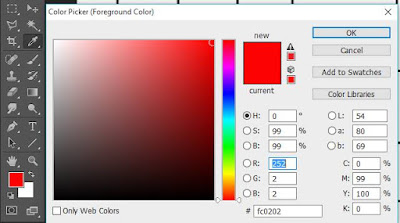 memilih warna pada color picker photoshop