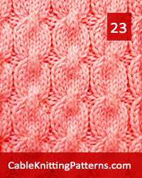 Cable Knitting 23. Multiple of 8 stitches, techniques used: 2/2 center cross.