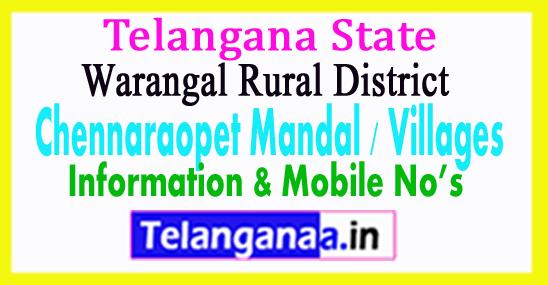 Chennaraopet Mandal Villages in Warangal Rural District Telangana