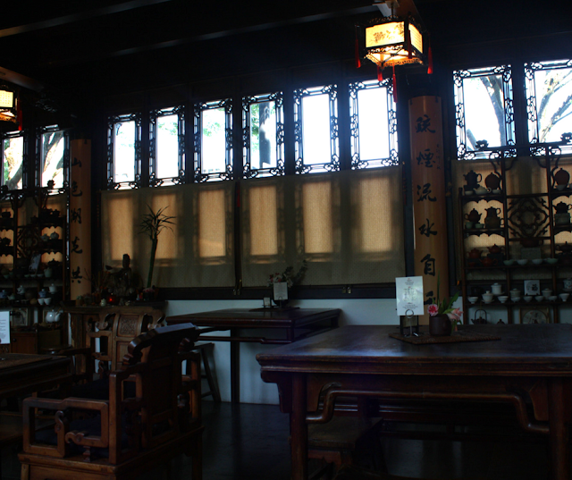 Artful elements throughout the teahouse and tea items perfect for your collection at Lan Su.