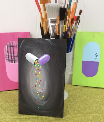 Pouring Pill Painting Stefanie Lynn Girard, Pill art, Drug art, pharmacy art, pop art, modern art