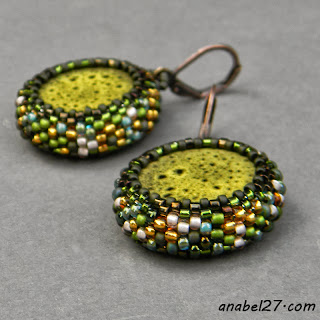 seed bead earrings green beadwork beaded jewelry